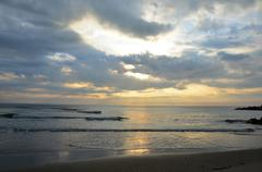 Morning and sunrise time at Hat Chao Samran beach of sea in Phetchaburi Thailand - stock photo