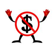 No dollars sign icon. usd currency symbol. money label. red Piirros