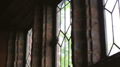 Old Stone Church Windows Stock Footage