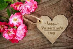 Happy valentine's day heart shaped card Stock Photos