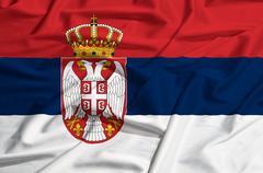 Serbia flag on a silk drape waving Stock Illustration