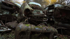 Car Cemetery 17 - Tracking Shot - stock footage