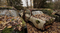 Car Cemetery 14 - Tracking Shot - stock footage