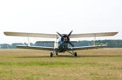 An2 airplane with rotating propeller. Stock Photos