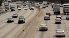 Time Lapse of Traffic on Busy Freeway in Downtown Los Angeles California - stock footage