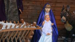 Christmas installation with a newborn Jesus Christ Vilnius, Lithuania Stock Footage