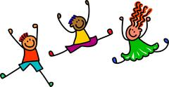 Jumping Kids - stock illustration