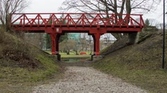 Little red bridge Stock Footage