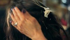 Hairdresser Spraying Hair Stock Footage