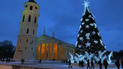 Christmas tree on Cathedral Square in Vilnius - stock footage