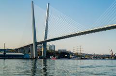 the bridge across the golden horn in vladivostok - stock photo