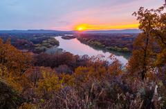 sunset over the river ussuri. primorsky krai. russia - stock photo