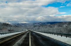winter road in siberia. russia - stock photo