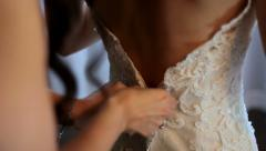 Wedding Dress Zip Up Stock Footage