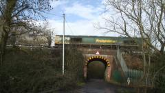 Freight Tran over bridge 2 Stock Footage
