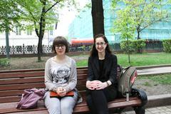 the politician vera kichanova and the unknown in the boulevard near a venue o - stock photo