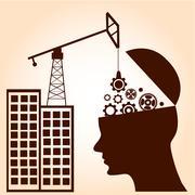 brain gears construction. intelligence concept. business concept. vector - stock illustration