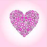 Vector symbol love hearts (gear) Stock Illustration