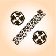 abstract image of percentage sign made of gears - stock illustration
