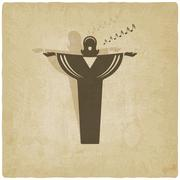 opera singer symbol old background - stock illustration