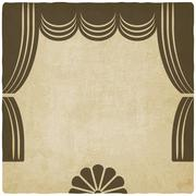 theater stage with curtains old background - stock illustration