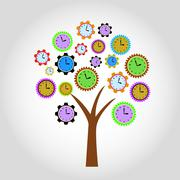 clock tree. for clock flowers see my portfolio - stock illustration