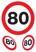 eighty miles per hour speed signs - stock illustration