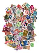 A pile of hundreds of postage stamps Stock Photos