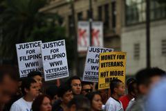 Filipino War Veteran Protest Hollywood - stock photo