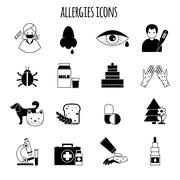 Allergies Icons Black - stock illustration