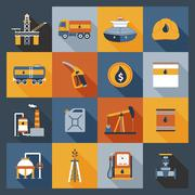 Oil Industry Icons Flat - stock illustration