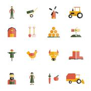 Farm Icon Flat Stock Illustration