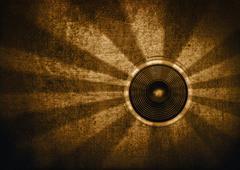 Brown retro starburst speaker Stock Illustration