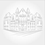 Drawing gothic style building of the old city hall in toronto. Stock Illustration