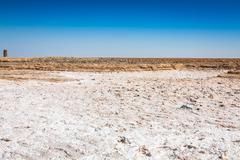 chott el djerid (biggest salt lake in north africa), tunisia - stock photo