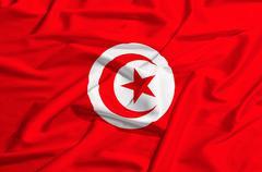 tunisia flag on a silk drape waving - stock illustration