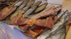 Dried, smoked, salted and other fish Stock Footage