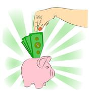 Hand dropping dollar piggy bank. Stock Illustration