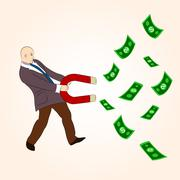 Stock Illustration of money magnet: cartoon character attracting money with magnet.