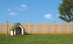 kennel on grass in the garden - stock illustration