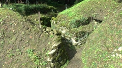 Part of a German concrete trench on the Butte de Vauquois, Meuse, France. Stock Footage