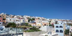 typical residential landscape of fira, santorini in greece. - stock photo