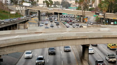 Time Lapse of Traffic on Busy Freeway in Downtown Los Angeles California Stock Footage