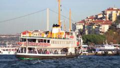Uskudar port with a ferryboat sails in Stock Footage