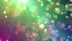 Beautiful Flying Hearts, Colored background Stock Footage