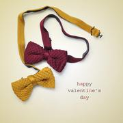 bow ties and text happy valentines day - stock photo