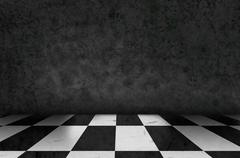 Chess background interior in a dark room and moss on wall Stock Illustration