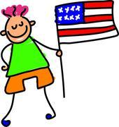 American Flag Kid - stock illustration