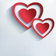 Stylish background with red paper 3d hearts Stock Illustration