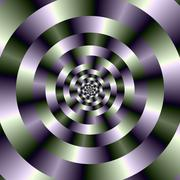 Concentric Circles in Green and Purple - stock illustration